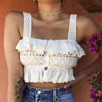 Sexy White Lace Crop Top WomenHollow Out Boho Ruffles Tank Top Cotton Casual Streetwear Female Clothing