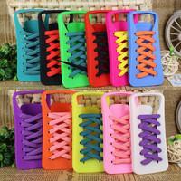 FASHION Shoes+3PCS Shoelace Soft SKIN Case Cover For Apple iPhone 5 5G GIFT