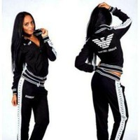 """Armani"" Women Casual Eagle Letter Pattern Print Long Sleeve Coat Set Two-Piece Sportswear"