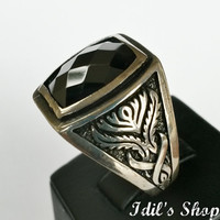 Authentic Turkish Ottoman Style Handmade 925 Sterling Silver Ring For Men With Black Onyx Stone.