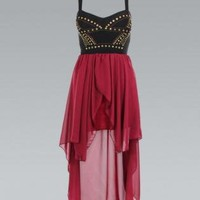 Black & Red Asymmetric Dress with Stud Top Detail