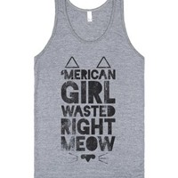 Merican Girl Wasted Right Meow-Unisex Athletic Grey Tank