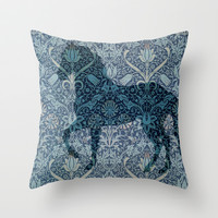 Blue Wallpaper Horse Throw Pillow by darkhorsestudio