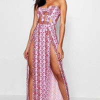 Karly Striped Knot Front Split Maxi Dress | Boohoo