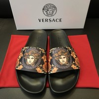 Versace Print Leather Slides Sandals Dsu6769 - Sale