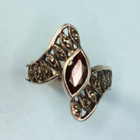 Sterling Ring Marcasite and Simulated Garnet Marquise Stone Vintage