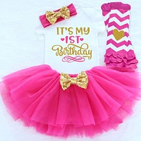 Girl Clothes Outfits Gold Sequins Baby Infant Clothing Newborn Baby Girl Suits