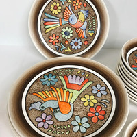 Vintage Cuernavaca Mexican Folk Art Dining Set Plates Bowls Salad Plates Stu Ma Hand Painted Bird Flowers Signed 1970s Bright Colors