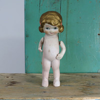 """Vintage Bisque Flapper Doll with Jointed Arms * Circa 1920s or 1930s * 5-3/4"""" Tall * Made in Japan"""
