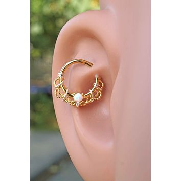 Gold White Opal Daith Hoop Ring Rook Hoop Cartilage Helix