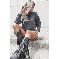 Los Angeles Navy Cropped Sweater