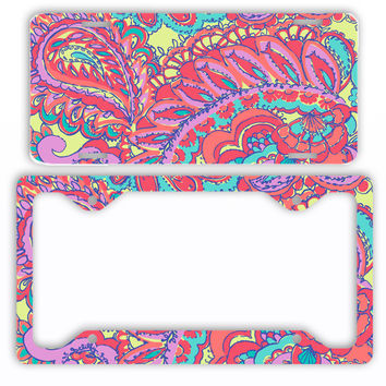 Pink Mint Paisley License Plate Frame Preppy Car Tag