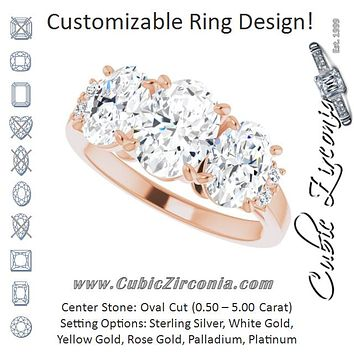 Cubic Zirconia Engagement Ring- The Skylah (Customizable Triple Oval Cut Design with Quad Vertical-Oriented Round Accents)