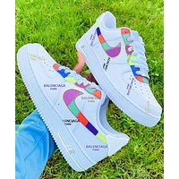 Air Force 1 Nike Air Force One Low Top Lace Leather Balenciaga Rainbow Men's Casual Sneakers
