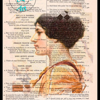 Cassotis 1914 Lady Pencil Drawing Beautifully Upcycled Vintage Dictionary Page Book Art Print
