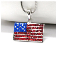 """""""Patriotic Me"""" Stars and Stripes Rhinestone Accented American Flag Necklace"""