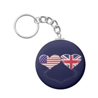 UK and USA Hearts Flag and Ticker tape