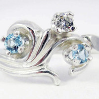 Natural Aquamarine and White Diamond Ring - Sterling Silver