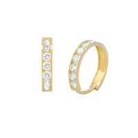 14k Yellow Gold Small Huggie Hoop Earrings Snap Closure Cubic Zirconia 13mm x2mm