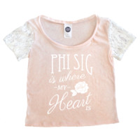 Lace Sleeve Tee / Phi Sig Heart Is, Pink