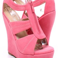 CORAL FAUX SUEDE OPEN TOE CAGED PLATFORM WEDGE