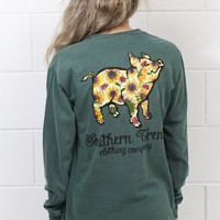 Proud Pig Sunflower Long Sleeve {Blue Spruce}
