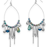 Pear Shape Drop Fashion Earrings with Aqua Beads
