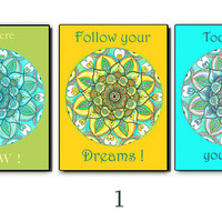 Spiritual Quotes Poster, Set of 3 prints, Mandala wall decor painting, Believe in yourself Follow your dreams, inhale exhale I love you gift