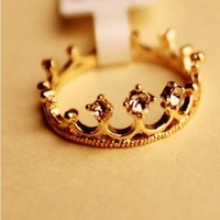 Buyinhouse Fans Charms Antique Golden Style Crown Rings Crown Finger Ring