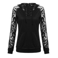 Sexy Women Lace Patchwork Long Sleeved Front Pocket Fashion Sweatshirt Hoodies Top Blouse Black [8833510924]
