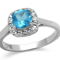 Juliet - FINAL SALE Aqua color cushion cut stone surrounded by cubic zirconia stones set in stainless steel