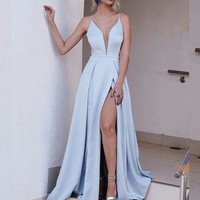 Long Spaghetti Straps Dresses for Prom Ice Blue Long Evening Dress