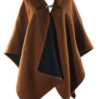 Brown Oversized Wool Wrap Poncho