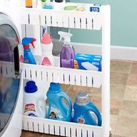 White Rolling Slim Space Saving Cart Rack Laundry Kitchen Storage Organization