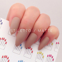 Stiletto, 20pcs, Chocolate Nude Beige Hand Painted False Nail Tips / Press On / Stick On / Fake Nails - Glossy or Matte