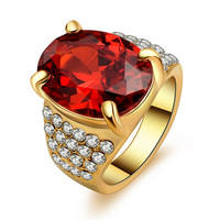 New Designer Fashion Women Red Ruby Gem Gold Plated Rings Engagement Wedding Ring For Women Crystal Jewelry on line sale