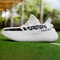 Onewel Adidas Yeezy Off White Contrast Shoes Women Men Sneakers White