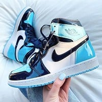 Nike AJ jordan 1 High top Classic Basketball shoes All-Star Patent Leather Blue