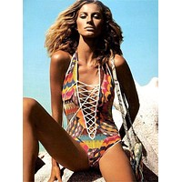 Push Up print swimwear tribal lace up one piece swimsuit cut out monokini bandage bathing suit