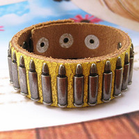 Rock  Punk Style Yellow Leather with bullet Pendant  Women Leather Cuff Bracelet   SL0021-Y