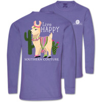 Southern Couture Live Happy Llama Comfort Colors Long Sleeve T-Shirt