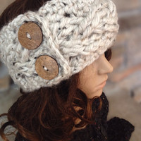 MADE TO ORDER Braided Cable Headband Women's Headband ear warmer tan fleck chunky headband with buttons warm winter fall spring accessories