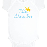 Miss December baby one piece, bodysuit, baby shower gift, baby girl clothes, gift under 20, winter baby shower, gender announcement reveal
