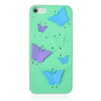 3D Butterfly Rhinestone Mint Case For iPhone 5