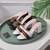 GUCCI Women Fashion Cow Leather High Heels Sandals Slipper Shoes