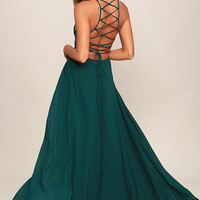 Strappy to be Here Forest Green Maxi Dress