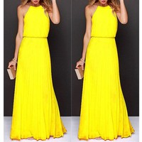 Yellow Plain Pleated Collarless Sleeveless Elegant Maxi Dress