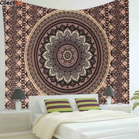 Cilected Indian Mandala Polyester Tapestry 200X148Cm Bohemian Wall Hanging Bedspread Throw Blanket Home Room Decor Textiles Acce