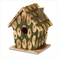 Gifts & Decor Moss Edged Wood Outdoor Yard Hanging Wooden Bird House (Discontinued by Manufacturer)