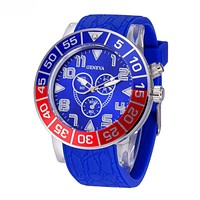 GENEVA Seven Color Light New Stylish Women Men Personality Watch Quartz Couple Wrist Watch Blue